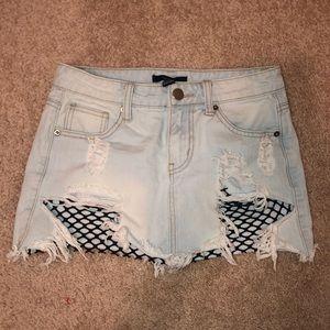 Forever 21 Jean Mesh Skirt (Worn Once)
